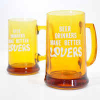 Beer Lovers Co. Mug Set • 1970s Novelty Beer Mug • 2 Amber Glass Steins • Craft Beer Mug • Vintage 70s Glass Mug