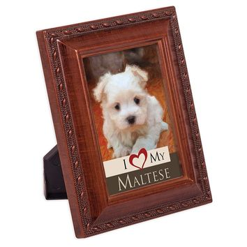 I Love My Maltese 2x3 Photo Woodgrain Finish Frame with Easel Ribbon Hanger and Magnetic Back