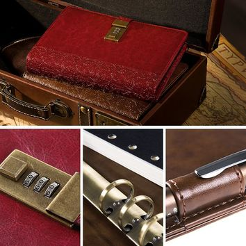 A5 Leather Notebook Vintage Diary With Lock 2018 Planner