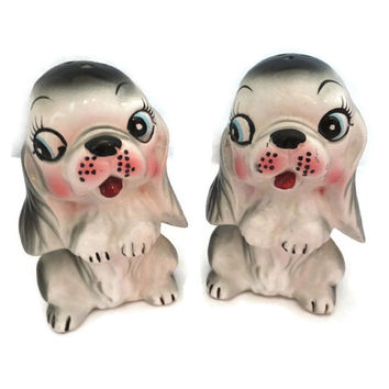 Vintage Salt and Pepper Shakers Dogs Ceramic Kitchen Collectible Retro Cute Begging Puppies