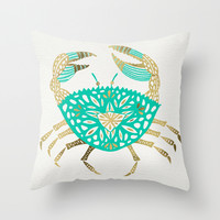Crab – Turquoise & Gold Throw Pillow by Cat Coquillette