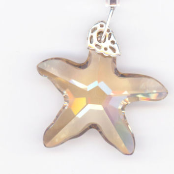 Large Crystal Star Pendant and Necklace with Seashore by Lehane