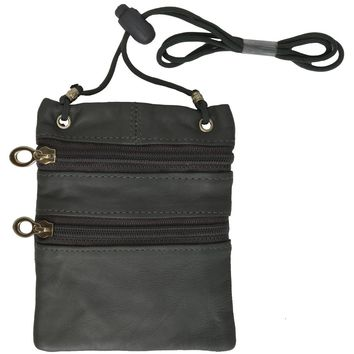 Small Soft Leather Cross Body Purse-Grey Color