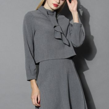 Extol Your Elegance Cropped Top and Skirt Set in Grey