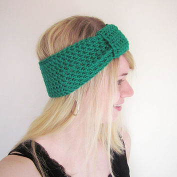 Crochet Ear Warmer Turban Knot Headband The Inbound Headwrap in Kelly Emerald Green Wool