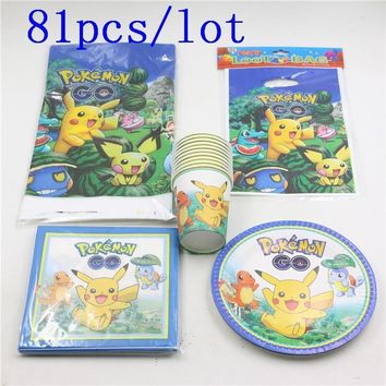 81pcs\lot Kids Favors Pikachu Napkins Baby Shower Party Plates Cups  Go Tablecloth Gift Bags Birthday Decoration SuppliesKawaii Pokemon go  AT_89_9