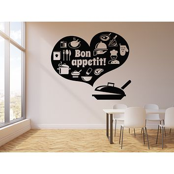 Vinyl Wall Decal Bon appetit Words Restaurant Kitchen Dining Room Stickers Mural (g2977)