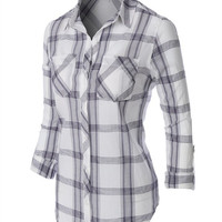 Dressy in Plaid Button Up - White/Navy