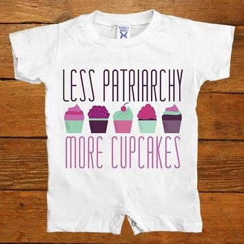 Less Patriarchy More Cupcakes -- Baby Onesuit