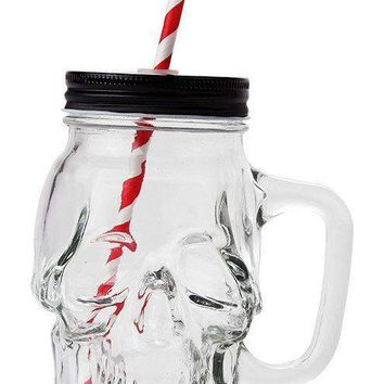 Novelty Glass Skull Face Drinking Mug Mason Jar with Glass Handles 13oz with Lid
