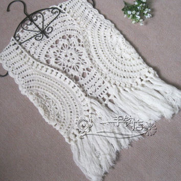 Hippie Fringed Jacket Tank Top, Crochet Fringed Vest summer lace beach cover up Shrugs boleros