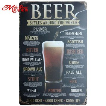 [ Mike86 ] BEER STYLES AROUND THE WORLD Metal Painting Wall plaque Pub Home Hall Store Party  Decor 20X30 CM AA-735