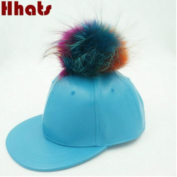 Which in shower Real Colorful Fox fur Pom Pom Plain Winter PU Hip Hop Cap Blank Faux Leather Fur Ball Snapback Trucker Hat Bone