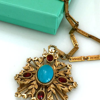 Florenza Victorian Revival Necklace, Faux Turquoise Cabochon, Garnet Red Rhinestones, Heraldic Pendant, Long Detailed Chain