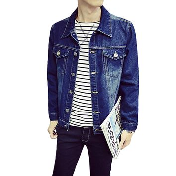 M-5XL Long Sleeve Bomber Jacket Men Turn Down Collar Fitness Denim Jackets Youth 2017 Slim Coats Jeans Button Up Pockets Outwear