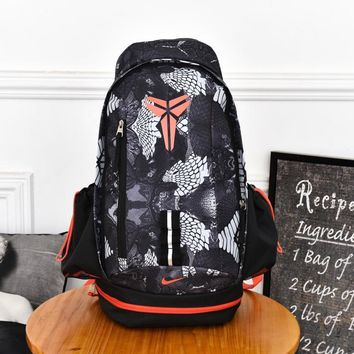 PEAP Nike Fashion Kobe Canvas Leisure Sports Travel Backpack 55-32-25cm Black Orange