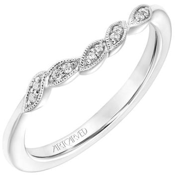 """Artcarved """"Lilac"""" Curved Diamond Wedding Band Featuring Leaf Design"""