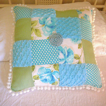 Pom Pom Pillow - Chenille Pillow - Blue Patchwork Pillow - Cottage Chic Pillow - Shabby Chic Pillow