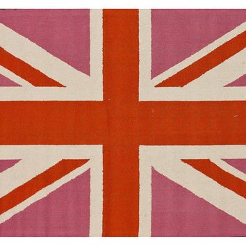 Union Jack Rug, Pink/Persimmon, Area Rugs