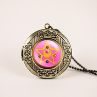 sailor moon crystal star locket anime vintage pendant locket necklace - ready for gifting - buy 3 get 4th one free