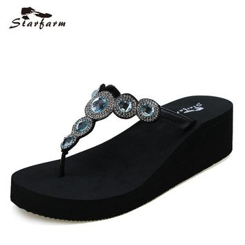 2017 STARFARM Women Shoes Woman Wedge Summer Flip Flops Funny Sandals Feme Slippers La