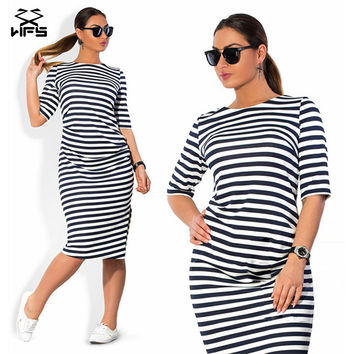 Fashionable Striped Autumn women dresses big sizes  women clothing Knee-Length dress casual o-neck loose dress