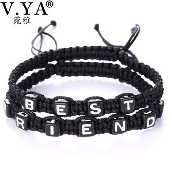 V.YA Best Friend Bracelets Women's Rope Chain Adjustable Size Friendship Jewelry for Girls Woman Female Gifts