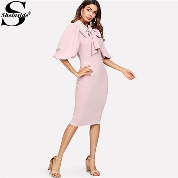 Sheinside Pink Puff Sleeve Tied Neck Dress Knee Length Zipper Pencil Dresses 2018 Spring Women Party OL Bodycon Dress