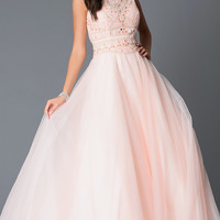 Beaded High Neck Peach Long Prom Dress