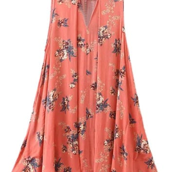 Orange Cut Out Floral Swing Mini Dress