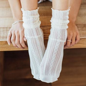 HENNY RUE 2018 New Spring Summer Elegant Hollow Socks High Quality Thin Women Pile Heap Socks Sweet Sexy Floral Socks