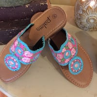 Jack Rogers inspired sandals painted with a Lilly Pulitzer like design.