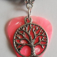 Real guitar pick necklace with tree charm and adjustable chain.