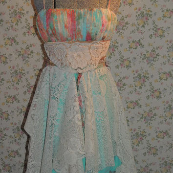 Sale / XS-S Prom Dress / Upcycled clothing / Bohemian Dress / Fairy Wedding Dress/ Boho Dress  /  Prom Dress /  Wedding Dress / Gypsy Dress