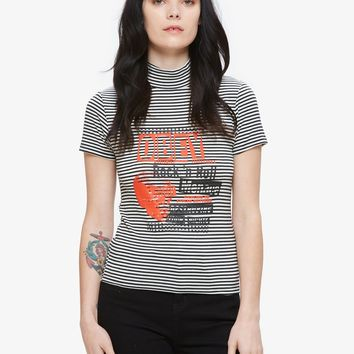 Rock And Roll Menace Mock Neck Tee