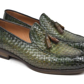 Paul Parkman Woven Leather Tassel Loafers Green