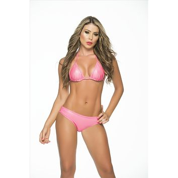 Mapale Wet Pink Triangle Top & Low Rise Scrunch Rear Cheeky Bottom Bikini Swimwear Set (Many Colors Available)