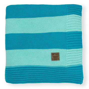 Bermuda Blue & Aquamarine Stripe Knit Organic Cotton Blanket