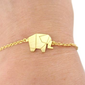 Origami Elephant Shaped Silhouette Charm Bracelet in Gold | Animal Jewelry