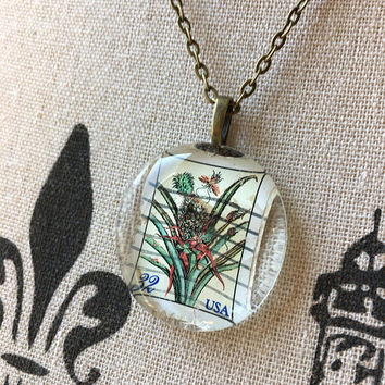 Botanical Necklace Earth Jewelry Mother Gift Nature Friendly Upcycled Recycled Repurposed Pendant Sister Best Friend Gardener Floral Flower