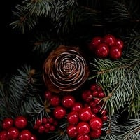 'Chritsmas with pinecone , berries and pine needles ' Photographic Print by VanGalt