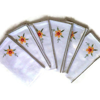 Vintage Cloth Napkins - Floral Cross Stitch Embroidery - White Green Yellow - Set Of 6 - Cotton Napkins - Cottage Chic Home Decor
