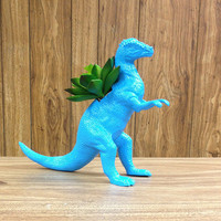 Up-cycled Large Sized Blue Pachycephalosaurs Dinosaur Planter
