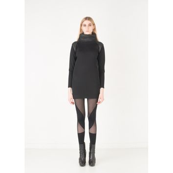 Black Wool Tunic Top