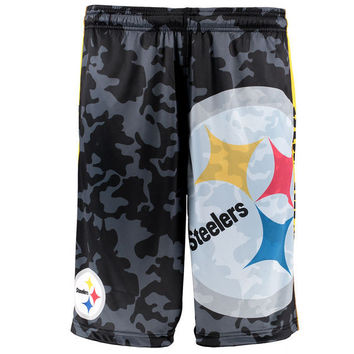 Men's Pittsburgh Steelers NFL Klew Black/Camo Big Logo Shorts