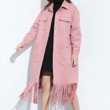 Contemporary Fringed Faux Suede Jacket