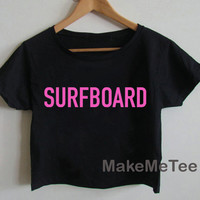 New SURFBOARD Logo Beyonce Yonce Hipster Printed Crop top Tank Top Women Black and White Tee Shirt - MM1