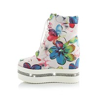 MoonMeek New arrival round toe wedge platform flower