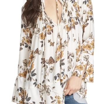 Free People Floral Print Smocked Tunic | Nordstrom