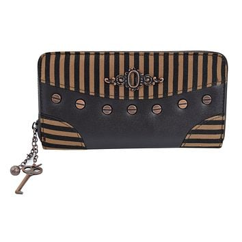 Banned Apparel Steampunk Brown Black Stripes Wild West Key Charm Zip Around Wallet